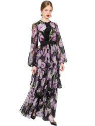 Dolce And Gabbana Tulip Print Tiered Silk Chiffon Dress