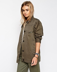 Asos Jacket With Utility Detail In Washed Cotton Khaki