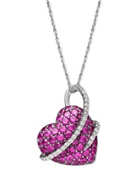 Macy's Sterling Silver Necklace Ruby 2 1 2 Ct. T.W. And Diamond 1 5 Ct. T.W. Heart Pendant