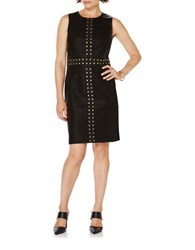 Rafaella Faux Leather Studded Sleeveless Sheath Dress Black