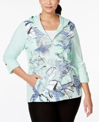 Styleandco. Style And Co. Sport Plus Size Half Zip Printed Hoodie Only At Macy's Pale Mint