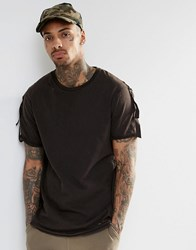 Asos Longline T Shirt With Military Taped Sleeves And Distressing Dark Green As Sampl