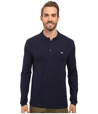 Lacoste Long Sleeve Stretch Grey Croc Pique Polo Navy Blue Men's Clothing