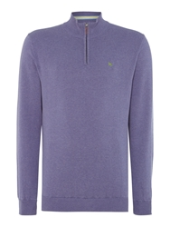 Magee Plain Half Zip Neck Pull Over Jumper Lilac
