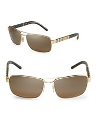 Burberry London Canvas Check 63Mm Aviator Sunglasses Gold