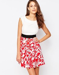 Closet Box Pleat Dress With Monkey Print Skirt Red White