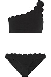 Marysia Santa Barbara Scalloped One Shoulder Bikini Black