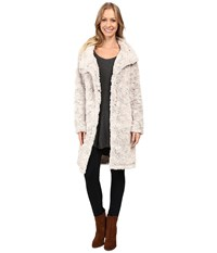 Dylan By True Grit Plush Faux Classic Silky Fur Long Snap Jacket Winter White Women's Coat