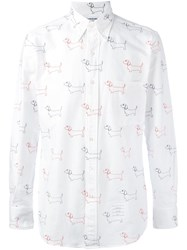 Thom Browne Embroidered Dog Shirt White