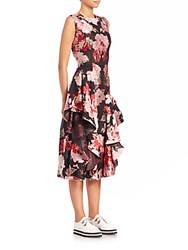 Alexander Mcqueen Floral Ruffle Dress Mix Flower