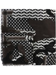 Neil Barrett Patchwork Print Scarf Black