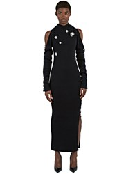 Preen Amice Long Ribbed Knit Diamante Dress Black