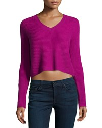 Design History Cashmere Fisherman Cropped Sweater Cyclamen
