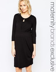 Mama Licious Mamalicious Nursing 3 4 Sleeve Jersey Dress Black