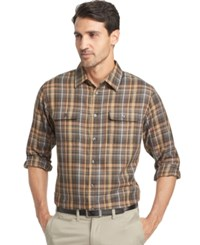 Van Heusen Long Sleeve Heathered Plaid Shirt