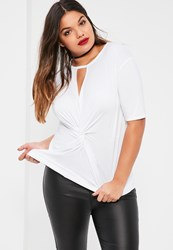 Missguided Plus Size White Knot Front T Shirt