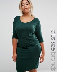 Junarose 3 4 Sleeve Jersey Dress With Gathered Waist Green