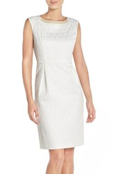 Women's Ellen Tracy Embellished Jacquard Sheath Dress Ivory