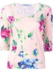 Blumarine Floral Fine Knit Jumper Pink And Purple