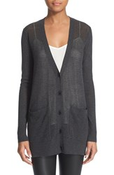 Women's Atm Anthony Thomas Melillo Pointelle Front Silk Blend Cardigan