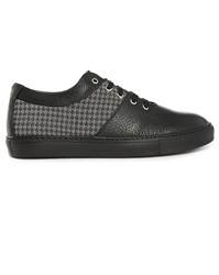 Armani Collezioni Black Grained Leather Black And White Chevron Dual Fabric Sneakers
