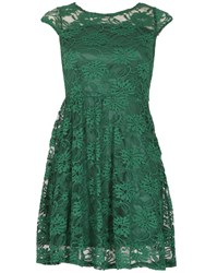 Tenki Cap Sleeve Floral Lace Dress Green