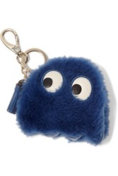 Anya Hindmarch Ghost Leather Trimmed Shearling Keychain Royal Blue