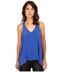 Heather Silk Front Racerback Tank Top Pacific Women's Clothing Blue