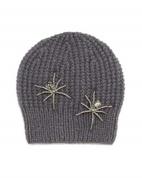 Jennifer Behr Double Crystal Spider Knit Beanie Hat Slate Gray