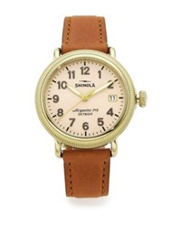 Shinola Runwell Coin Edge Goldtone Stainless Steel And Leather Strap Watch Cognac Gold