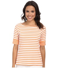 Pendleton Double Stripe Rib Tee White Orange Peel Stripe Women's T Shirt