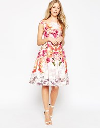 Asos Placed Vintage Rose Off The Shoulder Bardot Midi Prom Dress Multi