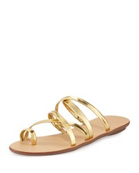 Sarie Leather Toe Ring Flat Sandal Gold Loeffler Randall