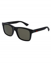 Gucci Acetate Rectangular Sunglasses W Web Detail Black
