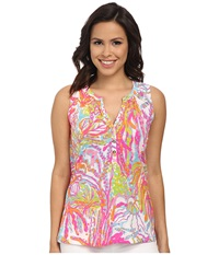 Lilly Pulitzer Essie Top Resort White Scuba To Cuba Women's Sleeveless Pink