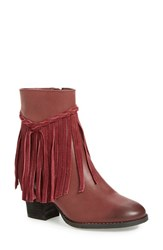 Sbicca Women's 'Geneen' Fringe Bootie Wine Faux Leather