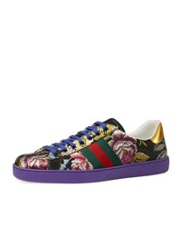 Gucci New Ace Floral Jacquard Low Top Sneaker Purple