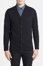 Calibrate Trim Fit Cotton And Silk Blend Cardigan Black