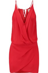 Mason By Michelle Mason Wrap Effect Silk Mini Dress Red