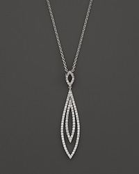 Bloomingdale's Diamond Double Layer Drop Pendant Necklace In 14K White Gold 1.0 Ct. T.W.