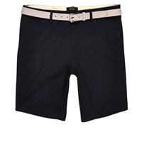 River Island Mens Navy Chino Shorts With Stone Belt
