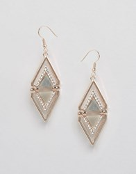 Oasis Shell And Pave Triangle Drop Earrings Gold