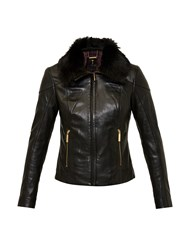 Ted Baker Cleva Leather Jacket Black