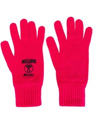 Moschino Logo Embroidered Gloves Pink Purple
