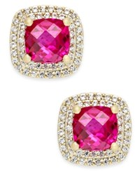 Macy's Lab Created Ruby 2 1 6 Ct. T.W. And White Sapphire 1 3 Ct. T.W. Square Stud Earrings In 14K Gold Plated Sterling Silver Yellow Gold