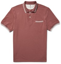 Brunello Cucinelli Slim Fit Contrast Tipped Cotton Piqua Polo Shirt Brick