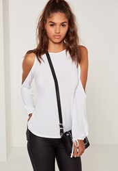 Missguided Cold Shoulder Tie Cuff Tunic White White