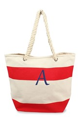 Cathy's Concepts Personalized Stripe Canvas Tote Red Red A