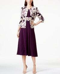 Jessica Howard Floral Print Tea Length Jacket And Dress Eggplant