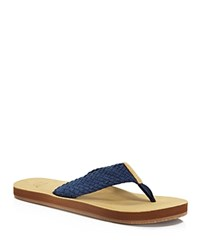 Vineyard Vines Washed Webbing Leather Flip Flops Vineyard Navy